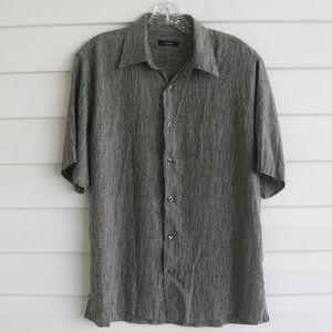 Alfani Olive Green & Brown 100% Silk Shirt